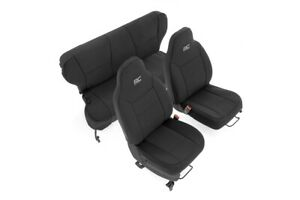 Rough Country Neo Seat Cover Set|Black [for 97-01 XJ w/Non-Detachable Headrest]