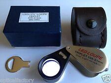 10x21mm UV/LED Triplet Illuminated Loupe-Dual Light (white & UV) Magnifier USA