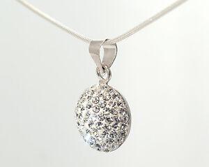 Sterling Silver Stunning Crystal Studded Shamballa Pendant MC1046