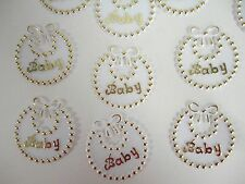 36 Plastic 2 1/4 Gold and White Baby Bibs for your Baby Shower Decoration