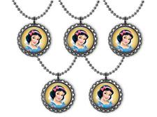 5 Disney Princess SNOW WHITE 3D Bottle Cap Necklace Birthday Party Favors