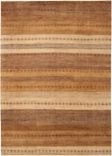 8x11 Hand-Knotted Gabbeh Carpet Tribal Brown Fine Wool Area Rug D36324