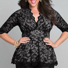 2017 Womens Sexy-V 3/4 Sleeve Summer Lace Shirt Casual T shirt Top Blouse PLUS
