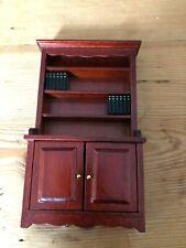 NEW Dolls House Miniature Mahogany Bookcase With Black Book