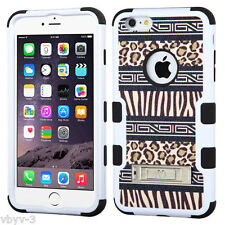 Zebra Cheetah Leopard TUFF HYBRID Rubber Hard Case Cover For Apple iPhone 6 PLUS