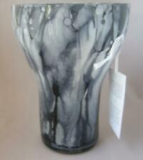Hand Made Vidi Glass Naples Italy Black Gray Color Art Glass Wide Top Vase
