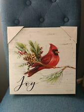 NWT 12x12 Stretched Canvas Wall Hanging Picture Red CARDINAL + JOY Pine Cones