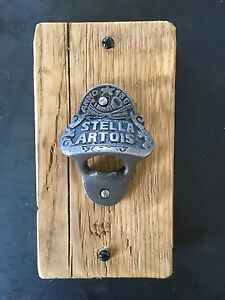 Reclaimed Stella/Vimto wood antique cast iron, bottle opener. Christmas Present