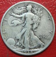 1934 Walking Liberty Half Dollar , CIRCULATED , 90% Silver US Coin