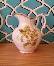 Antique Ceramic Pitcher Flowers Gold Green Yellow White Early 20Th C Art Decoish