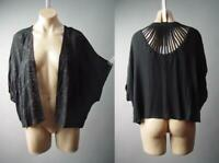 Black Eyelet Embroidered Open Front Swing Cropped Crop Shrug Wrap 300 mvp Jacket