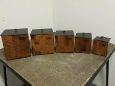 MnM of Canada 5 Piece Canister Set  Brown Wood with Slate Tops