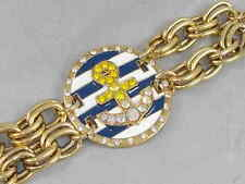 Betsey Johnson Gold SHIP SHAPE Striped Medallion Pave Anchor Toggle Bracelet $65