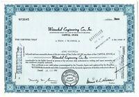 Weinschel Engineering Company Inc. Capital Stock Certificate 100 Shares