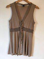 ROBERT RODRIGUEZ taupe modal and crochet sleeveless top Size M / UK 12 VGC £225