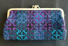 Vintage Needlework Coin Purse Teal and Purple Snap Closure Double Pocket