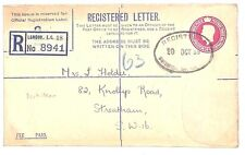 B80 1939 Gb Early Kgvi Postal Stationery 4½d Registered Cover Rp47(G) Fine Used