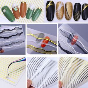 3D Nail Stickers Lines Strip Geometric Nail Art Adhesive Transfers Sticker Decor