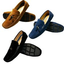 NEW MENS BLACK NAVY & CAMEL ITALIAN SUEDE MOCCASIN LOAFERS TASSEL SLIP ON SHOES!