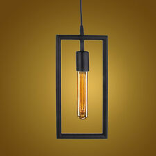 Edison Vintage Rectangle Design Pendant Light Wired Hanging Lampshade