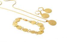 Coin Shape Necklace Pendant Earrings&Bracelet Jewelry Set 14K Yellow Gold Filled