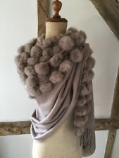 WOOL SHAWL/ WRAP SCARF WITH MULTIPLE FUR POM POMS IN MINK/BEIGE.