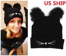 US! Womens Black Cat Ears Hat Embroidered Warm Knit Crochet Beanies Wool Cute
