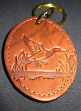 Keychain Duck Landing brown Leather embossed NEW