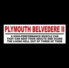 """Funny """"PLYMOUTH BELVEDERE II"""" decal STICKER muscle car 1965 1966 1967 hot rod"""