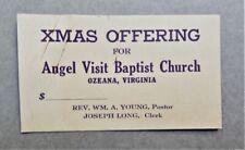 New listing 1941 African-American Angel Visit Baptist Church Card - Ozeana Dunnsville Va