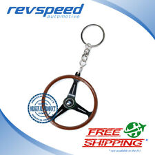 NARDI ND Genuine Keychain Keyring Classic Steering Wheel Wood Black Spokes