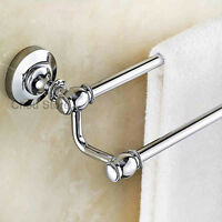 Chrome Finish Bathroom Double Pole Towel Rack Wall Mount Hotel Towel Rail Holder