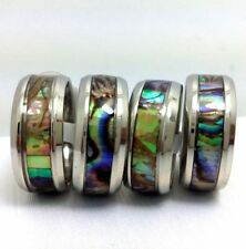 20Pcs New 8mm abalone shell band stainless steel rings wholesale fashion Job Lot