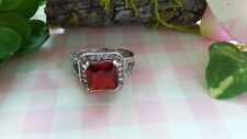 Beautiful Big Red White CZs Heavy Ring 925  Silver *Size6.25 *49Z