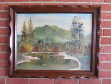 Vintage oil PAINTING FOLK ART FRAME LANDSCAPE KLEINFELDT trees LAKE MOUNTAIN