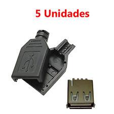 x5 Conector USB Hembra 2.0 Tipo A 4 Pin para Cable con Carcasa Plastico Aereo