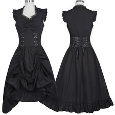 Womens Sleeveless V-Neck Vintage 1920s Steampunk Dress Gothic Victorian Dresses