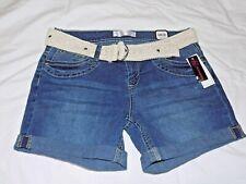 No Boundaries Womens Juniors NOBO Belted Mid Thigh Denium Shorts Size 13