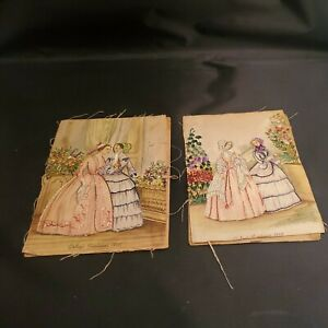 """2 GODEY'S LADY'S Victorian Fashion Needlepoint Embroidery Fabric 1845 1846 5x7"""""""