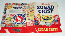 1950's Post Sugar Crisp Cereal Box wax wrap w/ Railroad Emblems cereal premium