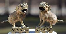 VINTAGE PAIR CHINESE BRASS RED CORAL JEWELED FOO FU DOGS STATUES GLASS EYES