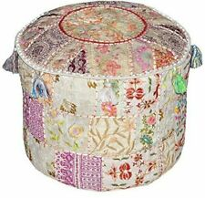 Indian 18'' Beige Ottomans Pouffe Cover Boho Decorative Footstools Throw Poufs