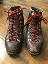 TECNICA HIKING BOOTS BROWN LEATHER RED LACE VIBRAM SOLE MOUNTAINEERING MEN 10 42