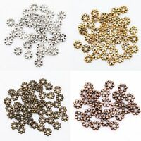 100 Pcs 6mm Tibetan Silver Daisy Flower Shaped Spacer Beads Jewelry Making DIY