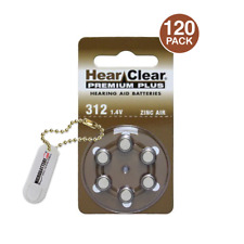 120 HearClear Hearing Aid Batteries Size 312 + Free Keychains/4 Extra Batteries