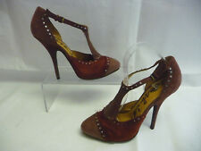 LANVIN Womens Stilettos 40 10 Maroon Suede Satin Bling Captoe Italy Rubber Sole