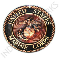 "USMC ENLISTED EGA ROUND EMBLEM MAGNET INSIGNIA 4""x4"" MARINE CORPS BRONZE LOOK"