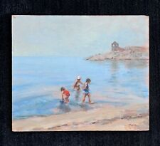 Marie Stobbe oil painting of children playing on a beach ~ New York ~ Maryland