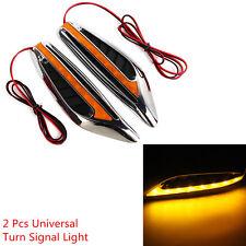 Universal 2 Pcs Yellow LED Car Turn Signal Light Sider Fender Lights Blade Style
