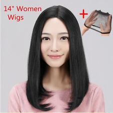 50cm Moyen Long Brésilien Lisse Perruque Naturel Cheveux Complet Noir Femme Mode